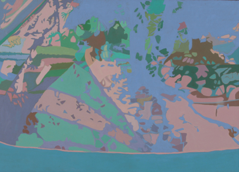 "Blue Net   , 1990, Oil on Linen, 36"" x 50"""