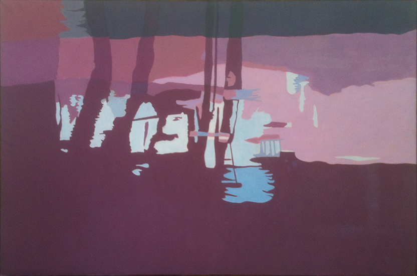 "Red Stream II  ,  1997, Oil on Linen, 40"" x 60"""