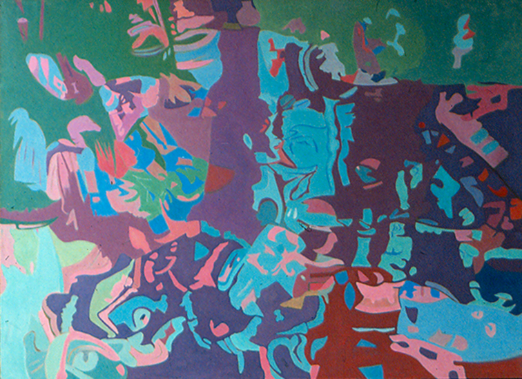 "Green Red   , 1986, Oil on Linen, 36""x50"""