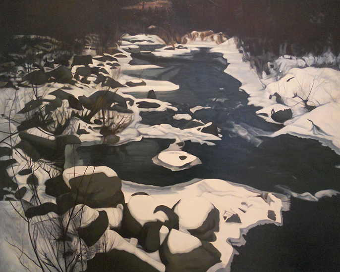"Winter Stream  ,  1975, Oil on Linen, 40""x50"""