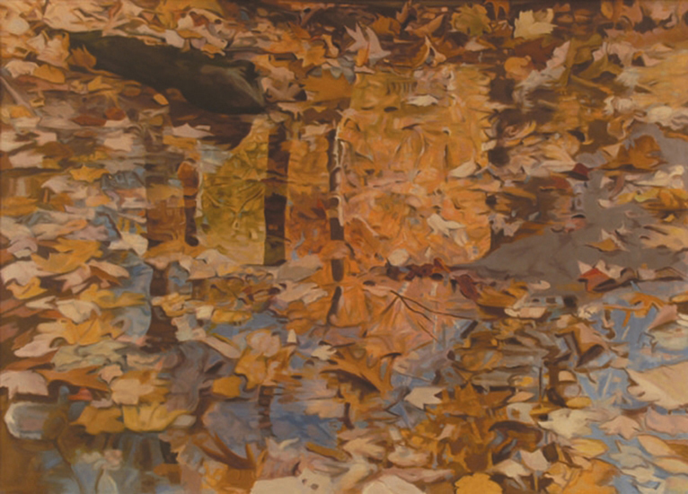 "Red Leaves  ,  1982, Oil on Linen, 36""x50"""