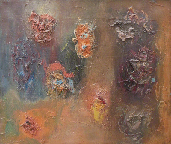 "Meditation   , 1960, Oil on Linen, 12"" x 14"""