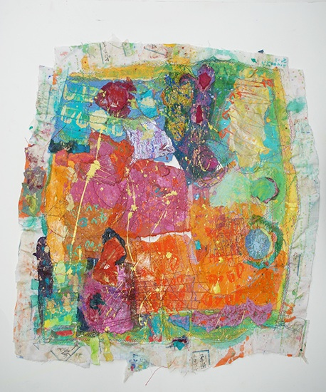 "Chants for Indian Morning   2015, Mixed media: Sewing on handmade paper and fabric, pigment, ink, pastel, 27""x 29"""