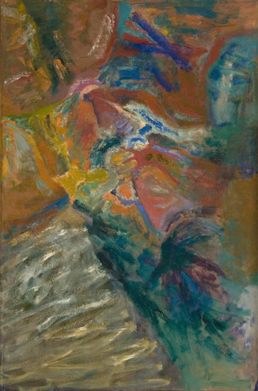 "Mountains   , 1959, Oil on Linen, 72"" x 48"""