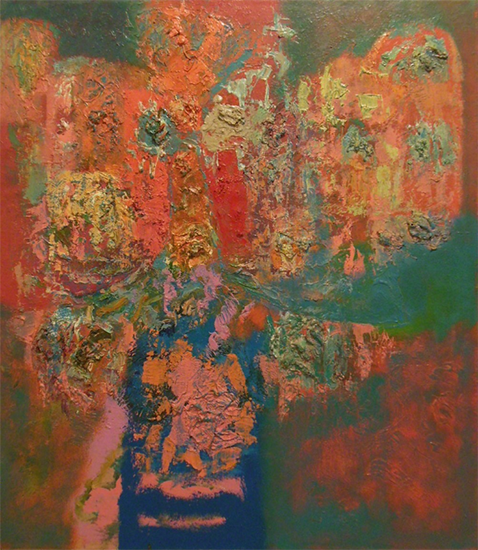 "Bouquet   , 1960, Oil on Linen, 36"" x 32"""