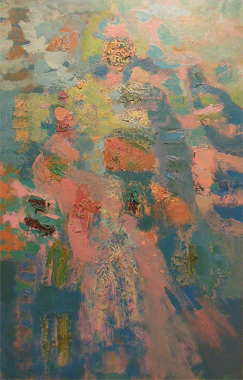 "Ascending   , 1960s, Oil on Linen, 46"" x 30"""