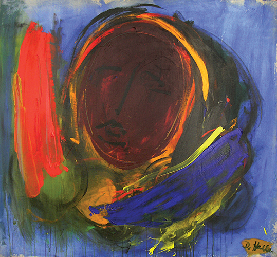 "Moon Face II   , Acrylic on Linen, 51"" x 55"", 1961"
