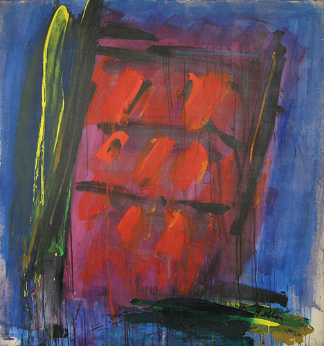 "House of Fire   , Acrylic on Linen, 55"" x 51"", 1961"