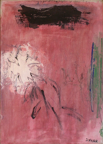 "White Flower: New York Studio   , circa 1955, Oil on Linen, 16"" x 12"""