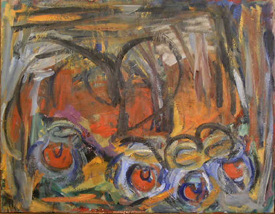 "Red - Blue Balls   , 1951, Oil on Linen, 36"" x 24"""