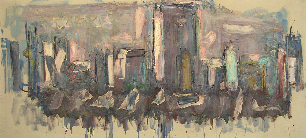 "New York Scene   , 1956, Oil on Linen, 67"" x 30"""