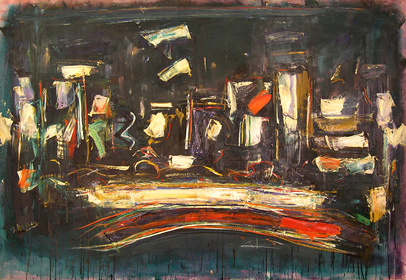"Night City  , 1958, Oil on linen, 51"" x 74"""