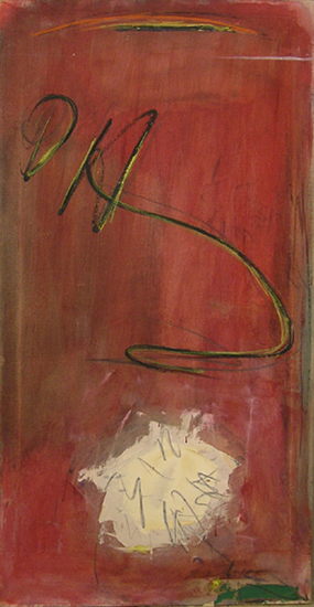 "Over White Flower,   1959, Oil on Linen, 42"" x 22"""