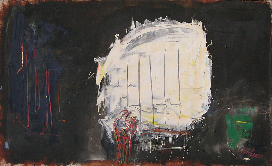 "Figure in Night City,   1959, Oil on Linen, 34"" x 56"""