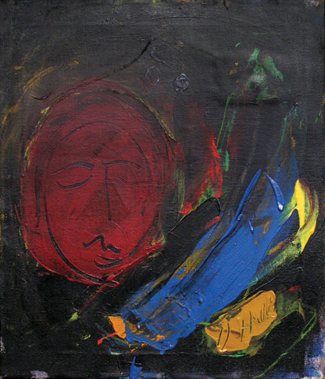 "Moon Face I  , 1960, Acrylic on linen, 23"" x 20"""