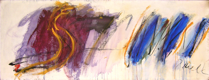 "The Serpent Rahu  , 1962, Acrylic on linen, 91"" x 34"""