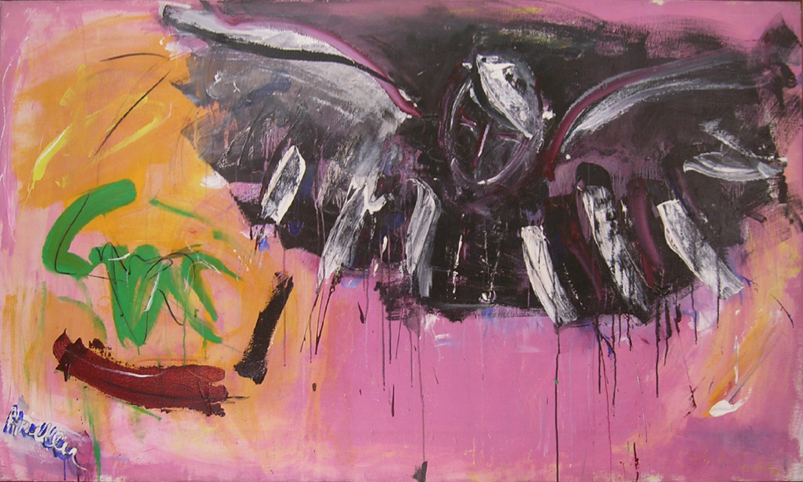 "Angel of Death II,   1962, Acrylic on linen, 42"" x 73"""