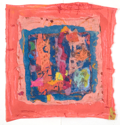 "Secret Temple of Tenderness,    2012, Fabric, Tempera, Pastels, Handmade paper, 15"" x 15"""