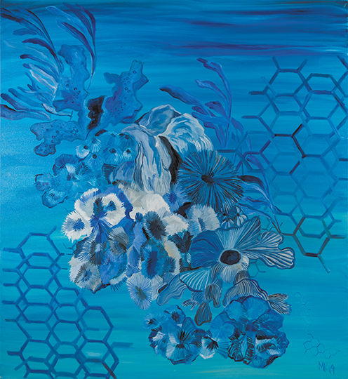 "Oceana   , 2014, Oil on Canvas, 65"" x 65"""