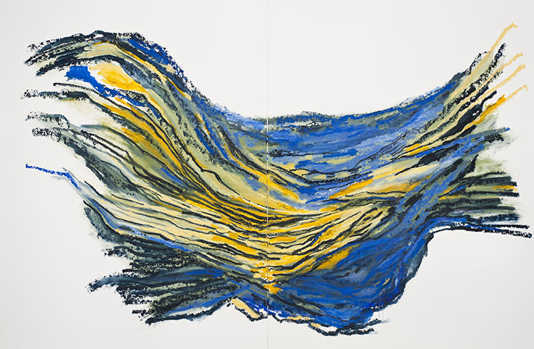 "Wave III   , 2012, Oil on Paper, 50"" x 76"""