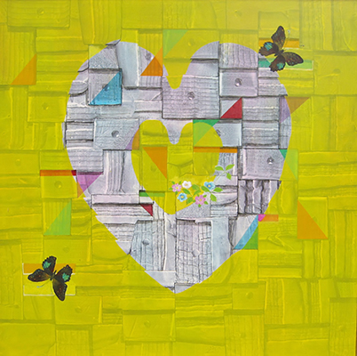 "Heart  , 2016, Oil and tempera, 36"" x 36"""