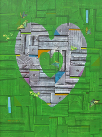 "Heart  , 2012, Oil and tempera, 36"" x 29"""