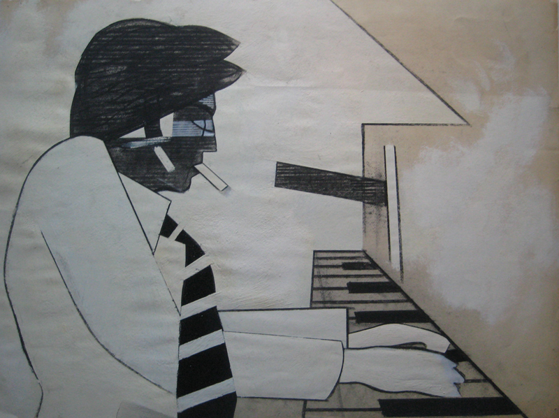 "Billy Joel 2   , 1980-2000, Charcoal, Oil Pastel, and Gesso on Paper, 18"" x 23"""