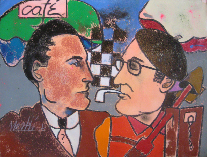 "Duchamp and Man Ray   , 1980-2000, Oil Pastel on Arches Paper, 23"" x 30"""