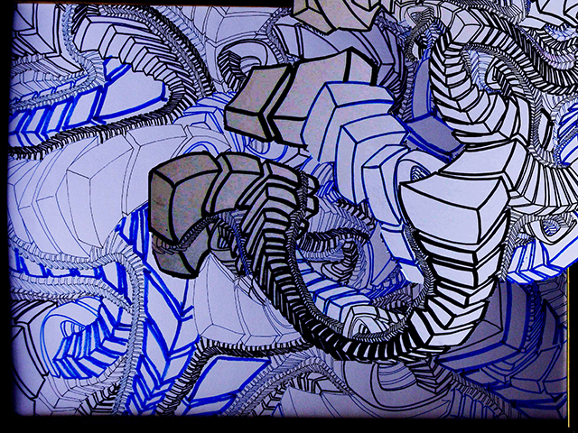 "Ancient Vertigo  , 2015, UV ink and acrylic on canvas, 30"" x 40"""