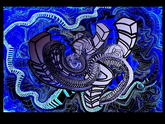"Evening Ark  , 2015, UV ink and acrylic on canvas, 30"" x 45"""