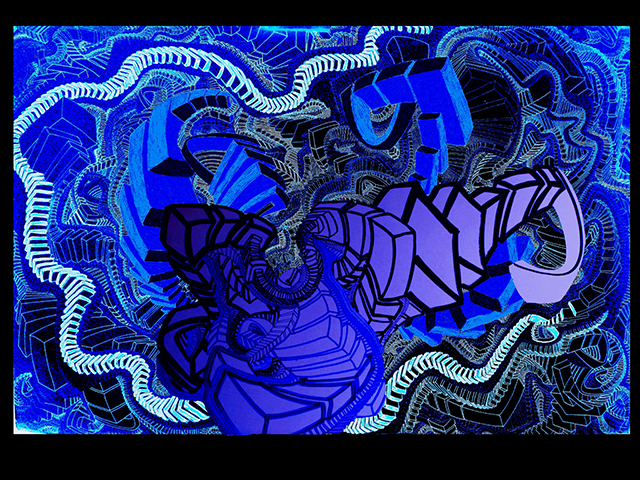 "Frigid Night Skiing  , 2015, UV ink and acrylic on canvas, 30"" x 45"""