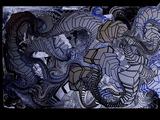 "Invasion  , 2015, UV ink and acrylic on canvas, 48"" x 70"""