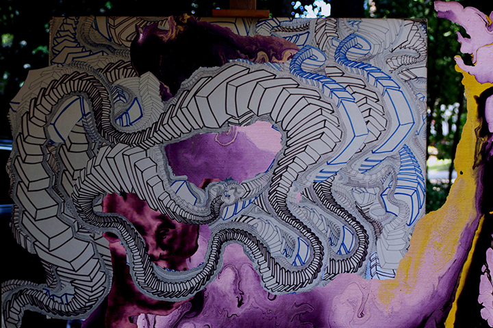 "Nightmare  , 2015, UV ink and acrylic on canvas, 48"" x 72"""