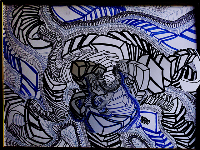 "Ragtime  , 2015, UV ink and acrylic on canvas, 30"" x 40"""