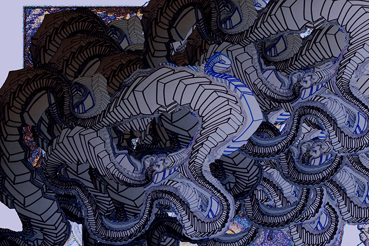 "The Blue Danube  , 2015, UV ink and acrylic on canvas, 48"" x 72"""