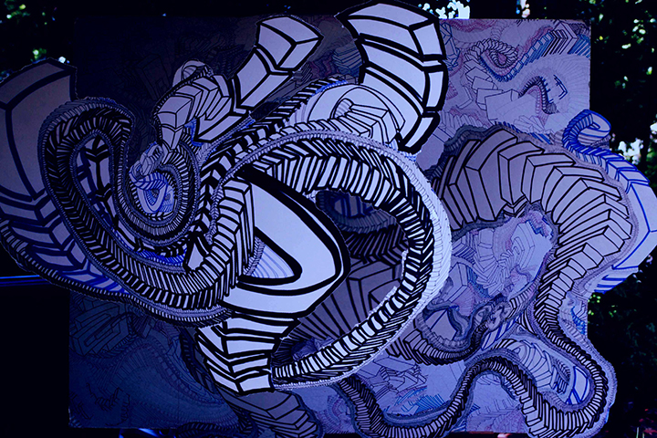 "The Folly of Empire  , 2015, UV ink and acrylic on canvas, 48"" x 72"""