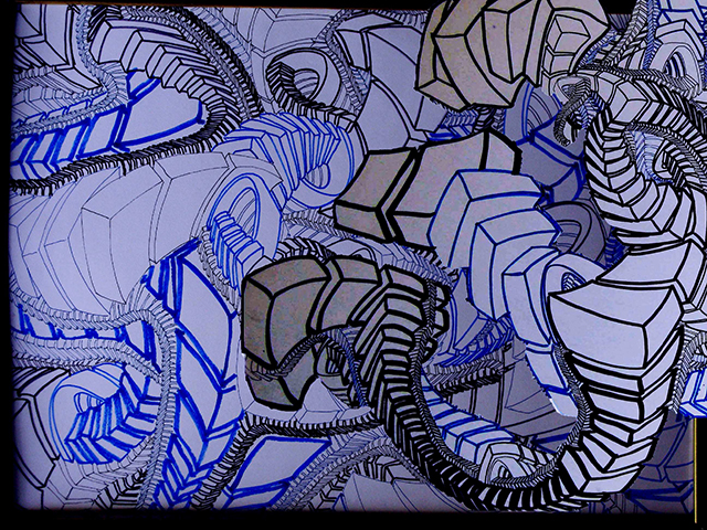 "Vertigo Nest  , 2015, UV ink and acrylic on canvas, 48"" x 64"""