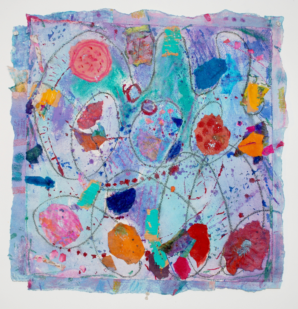 "Hymn to Our Abundant Universe   2016, handmade paper, ink, pastels, pigments, 23"" x 22"""