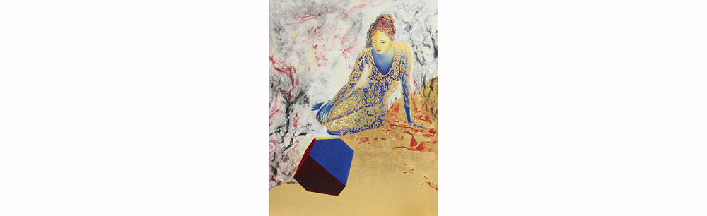 "Homage To Dürer, Melancholia I   2013, Gold Leaf, Natural and Mineral Pigment in Casein Distemper, Strasbourg Turpentine, and Oil on Linen on Panel, 55.1"" x 42.9"""