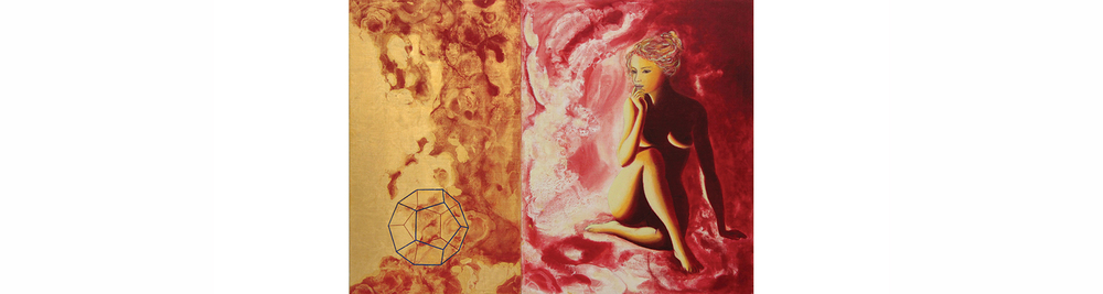"Sanguine I, Prima Materia (The God Particle)    2013, Gold Leaf, Natural and Mineral Pigment in Casein Distemper, Strasbourg Turpentine, and Oil on Linen on Panel, 23.6"" x 32.3"" (Diptych)"
