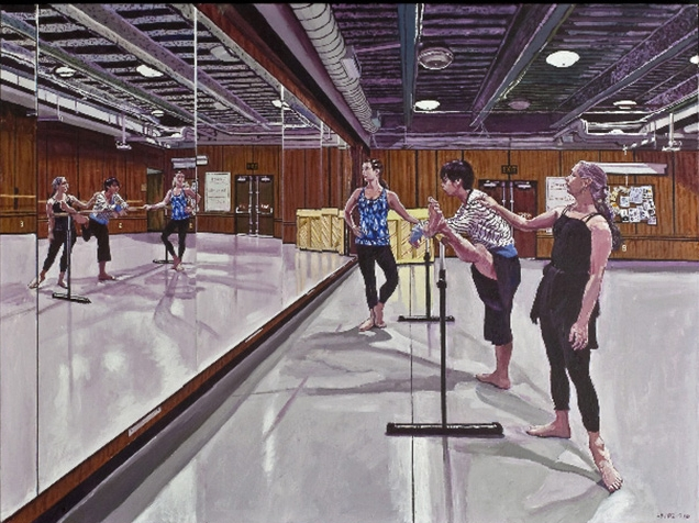 Mel Leipzig,   Dance Class  , 2010 Acrylic on Canvas, 36'' x 48""