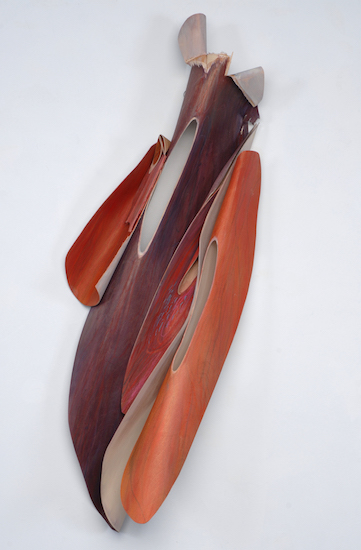 "Imperfect Beauty  , 2011, Bent wood and Oil Crayon, 41"" x 20"" x 10"""