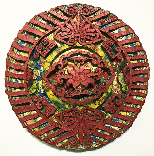 "Renee Magnanti,   Ornament ll  , 2010, Encaustic on Panel, 2"" in diameter by 1 1/2"" deep"