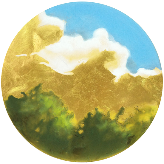 "Karen Fitzgerald,   The Sky is Dreaming,   2015, Oil with 23k Gold on Panel, 12"" in diameter by 1"" deep"