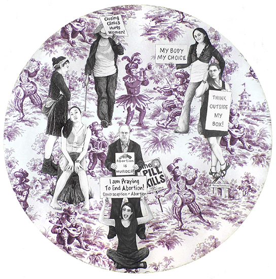 "Laurel Garcia Colvin,   What's a Girl to Do, I Can't believe I'm Still protesting this Shit, Tondo series,   23"" in diameter by 1 ½"" deep, Graphite on Gouache on Fabric Mounted on Wood Panel, 2014"