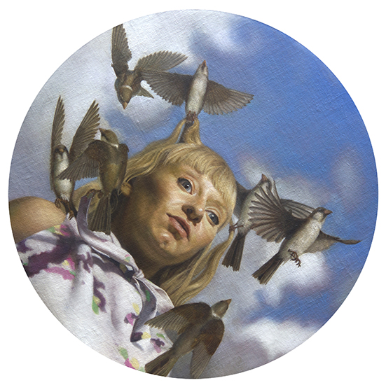 "Zane York,   Woman with Sparrows,   2013, Oil on Linen Mounted on Panel, 16"" in diameter by 1"" deep"