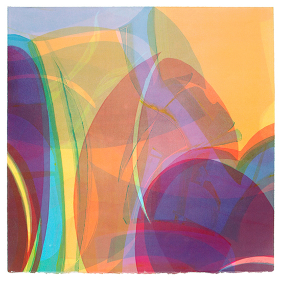 "Linda Plotkin,   V oices 'Fantasia' ,   2008, Monotype, 30"" x 30"""