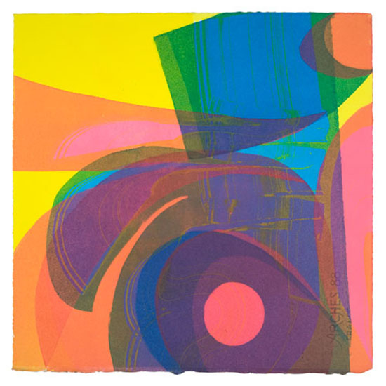 "Linda Plotkin,   Voices 'Aurora'  , 2008, Monotype, 15"" x 15"""