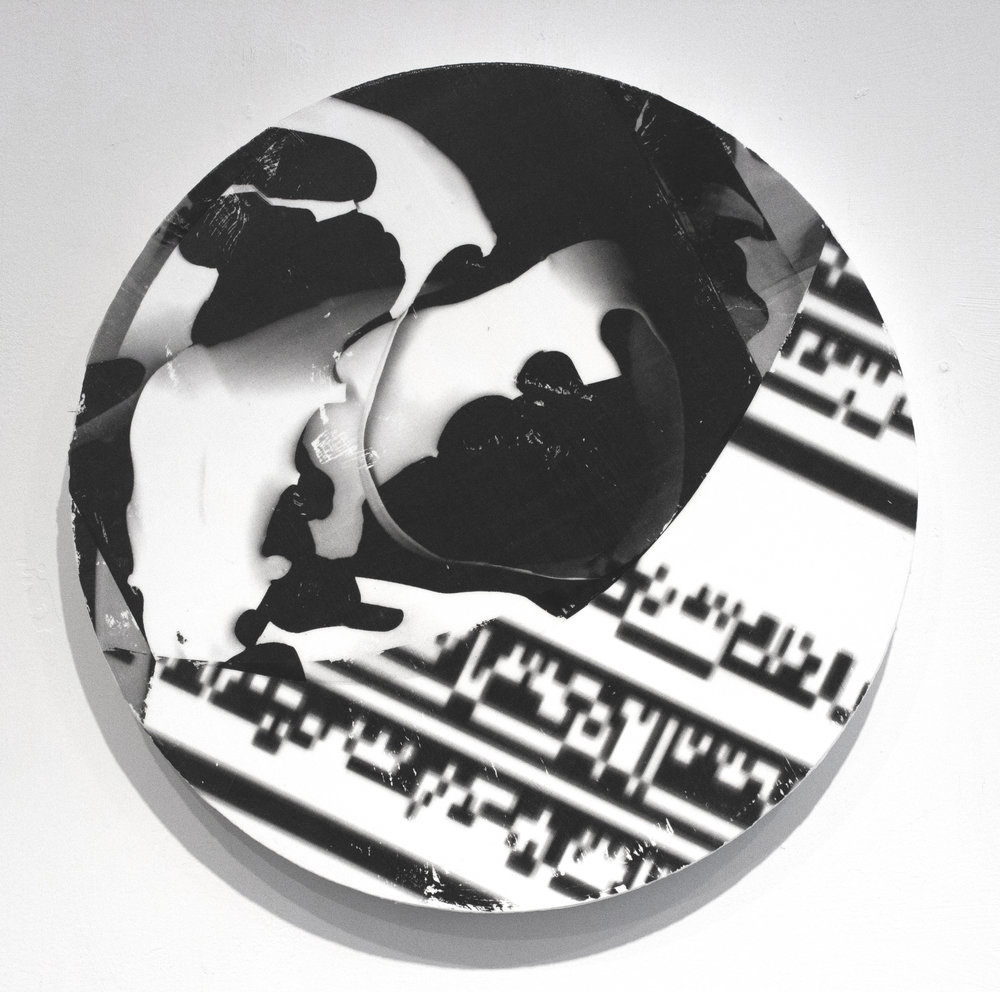 "Creighton Michael,   ORB 515,   2015, Paper, Digital Transfer and Acrylic on Panel, 1/4"" in diameter by  1 1/3"" deep"