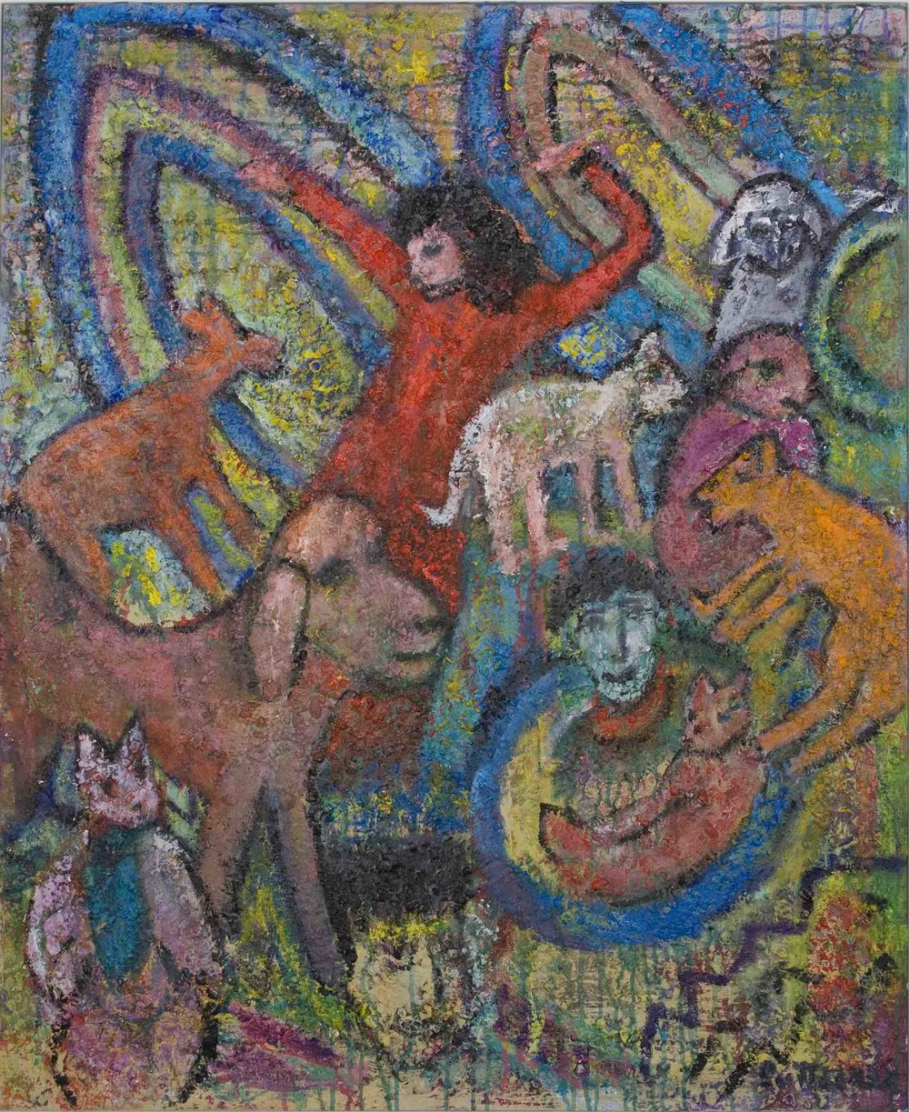 "Gigi Me and Friends  , 2010, Acrylic and Sand on Canvas, 48"" x40"""